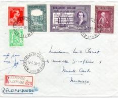 N° 987 à 989 MOZART + Affranchissement Complémentaire Sur Lettre Recommandée Vers Monte-Carlo - Belgium