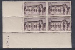 France N° 610 XX  Château De Chenonceaux : 15 F. ; En Bloc De 4 Coin Daté Du 13 .4. 44  Sans Charnière Sinon TB - Ecken (Datum)