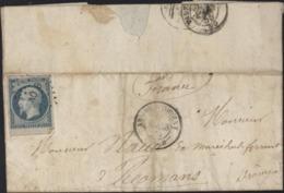 Crimée Au Camp Cernant Sebastopol YT 14 Empire ND Oblit Losange AO B CAD Armée D'Orient Lettre 11 3 1855 - Marcophilie (Lettres)