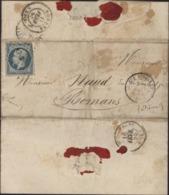 Crimée Au Camp Cernant Sebastopol YT 14 Empire ND Oblit Losange AO B CAD Armée D'Orient 28 Janv 1855 Pièce D'or Texte - Postmark Collection (Covers)