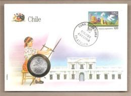Cile  - Busta Commemorativa Con Moneta Da 1 Centesimo - 1987 - Cile