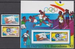 Nigeria 03.07.1992 IMPERF Mi #588-89 Bl14Barcelona Summer Olympics,OLYMPHILEX'92MNH OG - Verano 1992: Barcelona