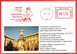 LEONARDO DA VINCI - MONUMENTO A MILANO - SPECIMEN METER STAMP EMA FREISTEMPEL AFFRANCATURA MECCANICA - Arts