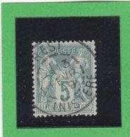 SAGE N° 75 TYPE IIB   - CACHET A DATE  BREST / FINISTERE  13 FEV. 1893- REF 1602 - 1876-1898 Sage (Type II)