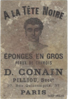 75 Paris 75003  Publicite A La Tete Noire   D Conain Eponges En Gros 37 Rue Quincampix  2 Volets Recto Verso - Arrondissement: 03
