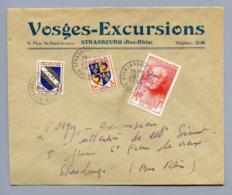 MAURY N°992 +BLASONS N° 958 & 953 SUR LETTRE 2° ECHELON  DU 28/7/1954 - Postmark Collection (Covers)