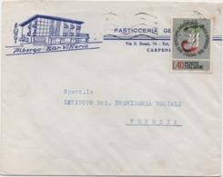 Anniversario Repubblica £. 40 Su Busta Albergo Bar Vittoria Carpenedo Con Annullo Mestre (Venezia) 27.03.1967 - 6. 1946-.. Repubblica