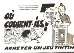 """PUB """" JEUX De 7 FAMILLES  """"  """"  TINTIN  """"   1962 ( 1 ) - Livres, BD, Revues"""