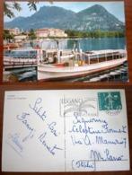 LUGANO Barca Boat SVIZZERA Cartolina 1960 Small Format Storia Postale - TI Ticino