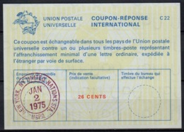 UNO UNITED NATIONS NEW YORK  La22A 26 CENTS International Reply Coupon Reponse Antwortschein IAS IRC O D3 2.1.75 FD! - Cartas