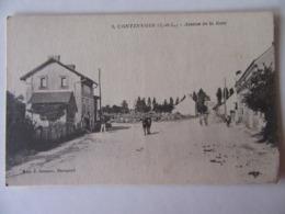 Cpa, Trés Belle Vue Animée, Continvoir, Indre Et Loire, Avenue De La Gare - Altri Comuni
