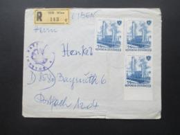 Österreich 1961 Staatliche Unternehmen Nr. 1096 MeF Mit 3 Marken Einschreiben 1010 Wien Mit Stempel Zollamt Bayreuth - 1945-.... 2. Republik
