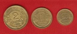 3 Monnaies France: 50 Centimes, 1, 2 Francs Type Morlon  - Anciens Francs - 3ème République - Monnaie - France