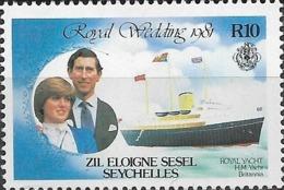 ZIL ELWANNYEN SESEL 1981 Royal Wedding - 10r - Britannia MNH - Seychelles (1976-...)