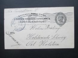 USA 1905 Ganzsache Aus San Francisco Via Queenstown Nach Ost Holstein Mit Ak Stempel KOS Holsteinische Schweiz - Briefe U. Dokumente