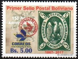 "Bolivia 2018 ** CEFIBOL 2318 (2017 #2302) Primera Estampilla. Habilitado ""Agencia Boliviana De Correos"". - Bolivia"