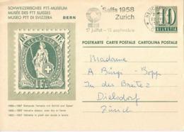 """PK 186  """"Postmuseum - Stehende Helvetia""""               1958 - Interi Postali"""