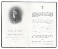 AGNES BOUIRE DE MONIER DE BEAUVALLON EPOUSE LE CORNEC 1886 1935 AVIS DE DECES - Décès