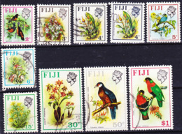 Fiji 1975-76 Definitives Lot Wmk Descending Crown CA Including Key Values 2c, 3c, 5c; Used O - Fiji (1970-...)