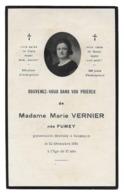 MARIE FUMEY EPOUSE VERNIER AVIS DE DECES BESANCON 1894 1931 - Décès
