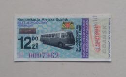 Poland Pologne Polen Gdansk Danzig 24h Ticket Billet Fahrkarte Public Transport - Season Ticket