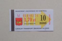 Poland Pologne Polen Lodz 10min. Ticket Billet Fahrkarte Public Transport - Season Ticket