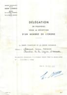 DELEGATION DE POUVOIRS MEMBRE DE L'ORDRE GANDE CHANCELLERIE DE LA LEGION D'HONNEUR 1975 - Documenti Storici