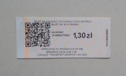 Poland Pologne Polen Lodz 20min. Ticket Billet Fahrkarte Public Transport - Abonos