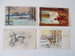 Lot 4 CPA, Romantique, .Nostalgie, Plus D'un Siècle, Fantasie,  Jyeux Noël...( 1909 -         ) - Noël