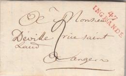 LAC Marque Postale Rouge 47 INGRANDE Maine Et Loire 31/8/1810 à Angers Verso Petit Cachet Rouge Arrivée - 1801-1848: Voorlopers XIX