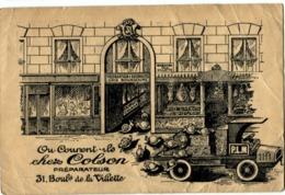 75010 Paris Colson Préparateur Escargots De Bourgogne Boulevard De La Villette Carte Rare - Arrondissement: 10