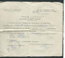 Récépisse De Dépot D'armes, En Decembre 1942 à La Brigade De Gendarmerie Nationale De Périgueux  - Mald6714 - 1939-45