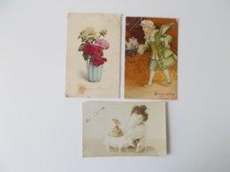 Lot 3 CPA, Romantique, .Nostalgie, Plus D'un Siècle, Fantasie,  Love, Amour,  Bonne Année.( 1903 -         ) - Nouvel An