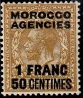 MAROC BUREAUX ANGLAIS 21* 1,50f Sur 1s Bistre-brun Timbre De Grande Bretagne De 1924 Surchargé - Oficinas En  Marruecos / Tanger : (...-1958