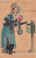CPA 1908  - Illustrateur -  Fantaisie - Femme Postant Un Courrier - Chat  (LOT PAT 89) - Vrouwen