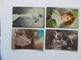 Lot 4 CPA, Romantique, .Nostalgie, Plus D'un Siècle, Fantasie, Liefde, Love , Amour.( 1906 - ....) - Femmes