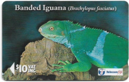 Fiji - Tel. Fiji - Iguanas - Banded Iguana - 19FJD (Normal 0), 1996, 10$, 15.000ex, Used - Fiji