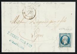 Lettre Avec Napoleon N°10, Cachet Losange PC 2950 Strasbourg à Lyon, Peu Courant ! 1854 Avec Ambulant Au Verso... - 1876-1898 Sage (Type II)