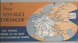 Publicité, Plaque En Carton, SNCF, 1956, Pour Vos Voyages à L'étranger , Les Trains De Soirées Et ....frais Fr 3.50 E - Plaques En Carton