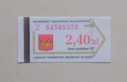 Poland Pologne Polen Lodz 2,40 Zl Ticket Billet Fahrkarte Public Transport - Europa