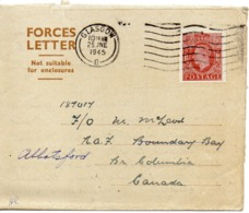 1945 UK Great Britain Aerogramme Forces Letter Posted To Canada - Storia Postale
