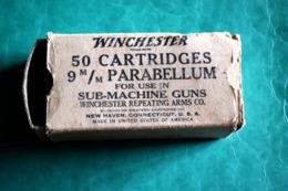 THOMPSON, BOITE VIDE DE CARTOUCHES 9MM PARABELLUM,WINCHESTER, POUR COLLECTION - 1939-45