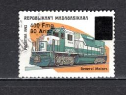 MADAGASCAR N° 1681U   SURCHARGE LOCALE OBLITERE   COTE  ? €   TRAIN - Madagascar (1960-...)