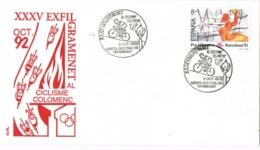 34745. Carta SANTA COLOMA De GRAMANET (Barcelona) 1992. Exposicion Ciclismo - 1931-Hoy: 2ª República - ... Juan Carlos I