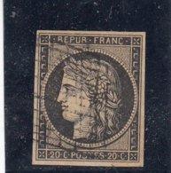 France - Cérès - N°Y.T 3b - 20c Noir S. Chamois - Oblit. Grille - Cote 210€ - 1849-1850 Cérès
