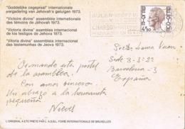 34748. Postal Privada BRUXELLES (belgien) 1973. Asamblea Testigos Jehova. Slogan CHARBON, Carbon, Kolen - Belgium