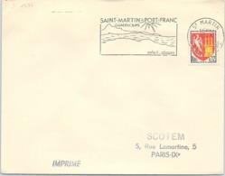 GUADELOUPE - FLAMME SAINT-MARTIN PORT-FRANC - SOLEIL PLAGES  / 1 - Marcophilie (Lettres)