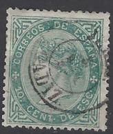 España U 0091 (o) Isabel II. 1867. Foto Exacta. Adelgazado - 1850-68 Reino: Isabel II