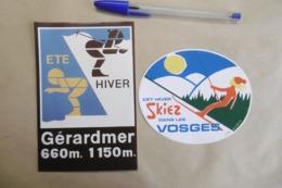 Autocollant Stickers - Sport D'hiver SKI à GERARDMER 88 VOSGES - Lot De 2 Autocollants - Autocollants