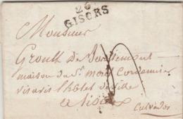 LAC Marque Postale 26 GISORS Eure 12/2/1822 à Lisieux - 1801-1848: Precursors XIX